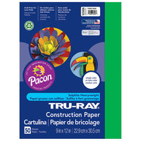 Pacon 103006 Tru-Ray 9 inch x 12 inch Festive Green Pack of 76# Construction Paper - 50/Sheets