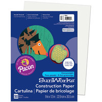 SunWorks 9203 9 inch x 12 inch White Pack of 58# Construction Paper - 50/Sheets
