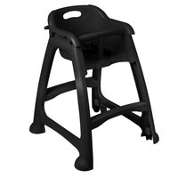 Lancaster Table & Seating Black Stackable Restaurant High Chair with Tray and Wheels (Ready to Assemble)