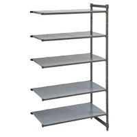 Cambro CBA185484S5580 Camshelving® Basics Plus Solid 5-Shelf Add On Unit - 18 inch x 54 inch x 84 inch