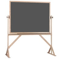 Aarco RS3648S 36 inch x 48 inch Reversible Free Standing Slate Gray Porcelain Chalkboard with Solid Oak Wood Frame