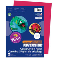 Pacon 103590 Riverside 9 inch x 12 inch Red Pack of 76# Construction Paper - 50/Sheets