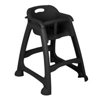 Lancaster Table & Seating Black Stackable Restaurant High Chair with Tray (Ready to Assemble, No Wheels)