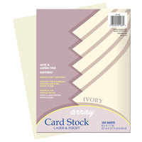 Pacon 101186 Array 8 1/2 inch x 11 inch Ivory Pack of 65# Cardstock- 100 Sheets