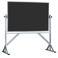 Aarco ACB4872B 48 inch x 72 inch Reversible Free Standing Black Composition Chalkboard / Natural Cork Board with Satin Anodized Aluminum Frame