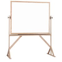 Aarco WRC3648 36 inch x 48 inch Reversible Free Standing White Melamine Markerboard with Solid Oak Wood Frame