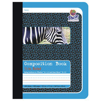 Pacon 2425 7 1/2 inch x 9 3/4 inch Blue Zebra 1/2 inch Ruling 15# Composition Book
