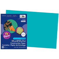 SunWorks 7707 12 inch x 18 inch Turquoise Pack of 58# Construction Paper - 50/Sheets