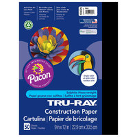 Pacon 103029 Tru-Ray 9 inch x 12 inch Black Pack of 76# Construction Paper - 50/Sheets