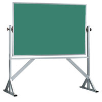 Aarco ARS4872G 48 inch x 72 inch Reversible Free Standing Green Porcelain Chalkboard with Satin Anodized Aluminum Frame