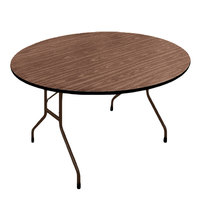 Correll PC60P01 60 inch Round Walnut Solid High Pressure Heavy Duty Folding Table with Plywood Core