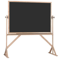 Aarco RBC4260B 42 inch x 60 inch Reversible Free Standing Black Composition Chalkboard / Natural Cork Board with Solid Oak Wood Frame