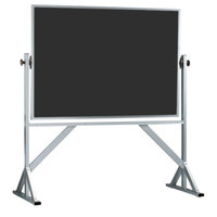 Aarco ACB4260B 42 inch x 60 inch Reversible Free Standing Black Composition Chalkboard / Natural Cork Board with Satin Anodized Aluminum Frame