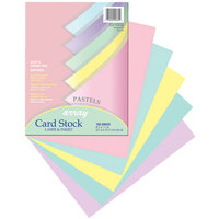Pacon 101315 Array 8 1/2 inch x 11 inch Assorted Pastel Colors Pack of 65# Cardstock - 100 Sheets