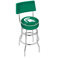 Holland Bar Stool L7C430MichSt Michigan State University Double Ring Swivel Stool with Padded Back and Seat