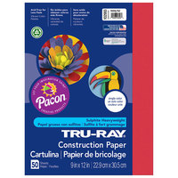 Pacon 102993 Tru-Ray 9 inch x 12 inch Holiday Red Pack of 76# Construction Paper - 50/Sheets