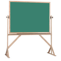 Aarco RS3648G 36 inch x 48 inch Reversible Free Standing Green Porcelain Chalkboard with Solid Oak Wood Frame