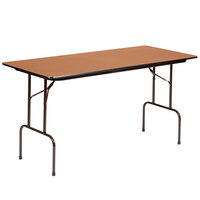 Correll PC3072P06 30 inch x 72 inch Medium Oak Solid High Pressure Heavy Duty Folding Table with Plywood Core