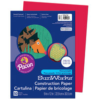SunWorks 9903 9 inch x 12 inch Holiday Red Pack of 58# Construction Paper - 50/Sheets