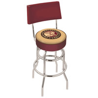 Holland Bar Stool L7C430Indn-HD Indian Motorcycle Double Ring Swivel Stool with Padded Back and Seat