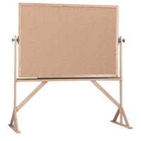 Aarco RBB4872 48 inch x 72 inch Reversible Free Standing Natural Cork Board with Solid Oak Wood Frame