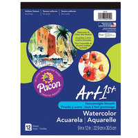 Pacon 4910 9 inch x 12 inch White Artist Watercolor Paper Pad