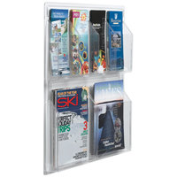 Aarco LRC102 21 inch x 23 inch Clear-Vu Combination Pamphlet and Magazine Display with 4 Pamphlet Pockets and 2 Magazine Pockets