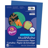 SunWorks 7303 9 inch x 12 inch Dark Blue Pack of 58# Construction Paper - 50/Sheets