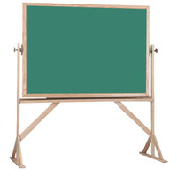 Aarco RS4260G 42 inch x 60 inch Reversible Free Standing Green Porcelain Chalkboard with Solid Oak Wood Frame