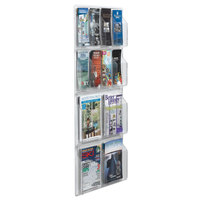 Aarco LRC114 21 inch x 45 inch Clear-Vu Combination Pamphlet and Magazine Display with 8 Pamphlet Pockets and 4 Magazine Pockets