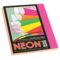 Pacon 104331 8 1/2 inch x 11 inch Assorted Neon Color Pack of 24# Multi-Purpose Paper - 100/Sheets