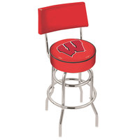 Holland Bar Stool L7C430Wisc-W University of Wisconsin Double Ring Swivel Stool with Padded Back and Seat
