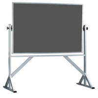 Aarco ARS4872S 48 inch x 72 inch Reversible Free Standing Slate Gray Porcelain Chalkboard with Satin Anodized Aluminum Frame