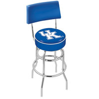Holland Bar Stool L7C430UKY-UK University of Kentucky Double Ring Swivel Stool with Padded Back and Seat