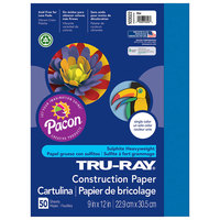 Pacon 103022 Tru-Ray 9 inch x 12 inch Blue Pack of 76# Construction Paper - 50/Sheets