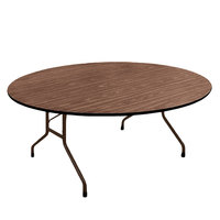 Correll PC6072P01 60 inch x 72 inch Oval Walnut Solid High Pressure Heavy Duty Folding Table with Plywood Core