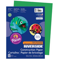 Pacon 103596 Riverside 9 inch x 12 inch Green Pack of 76# Construction Paper - 50/Sheets