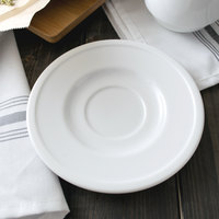 World Tableware 1502-10155 Empire 6 1/8 inch Alpine White Porcelain Saucer - 36/Case