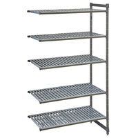 Cambro CBA184284V5580 Camshelving® Basics Plus Vented 5-Shelf Add On Unit - 18 inch x 42 inch x 84 inch