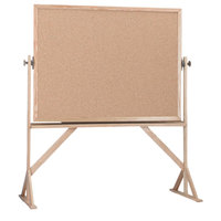 Aarco RBB4260 42 inch x 60 inch Reversible Free Standing Natural Cork Board with Solid Oak Wood Frame