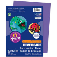 Pacon 103603 Riverside 9 inch x 12 inch Violet Pack of 76# Construction Paper - 50/Sheets