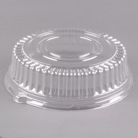Visions 12 inch Clear PET Plastic Round Catering Tray High Dome Lid - 5/Pack
