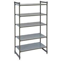 Cambro CBU184284S5580 Camshelving® Basics Plus Solid 5-Shelf Stationary Starter Unit - 18 inch x 42 inch x 84 inch