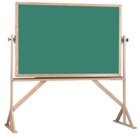 Aarco RBC4872G 48 inch x 72 inch Reversible Free Standing Green Composition Chalkboard / Natural Cork Board with Solid Oak Wood Frame