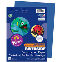 Pacon 103601 Riverside 9 inch x 12 inch Dark Blue Pack of 76# Construction Paper - 50/Sheets