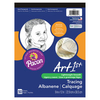 Pacon 2312 Art1st 9 inch x 12 inch White Light Weight Smooth 16# Parchment Paper Tracing Pad