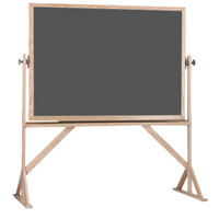Aarco RS4260S 42 inch x 60 inch Reversible Free Standing Slate Gray Porcelain Chalkboard with Solid Oak Wood Frame