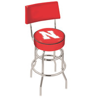 Holland Bar Stool L7C430NebrUn University of Nebraska Double Ring Swivel Stool with Padded Back and Seat