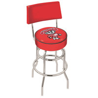 Holland Bar Stool L7C430WI-Bdg University of Wisconsin Double Ring Swivel Stool with Padded Back and Seat