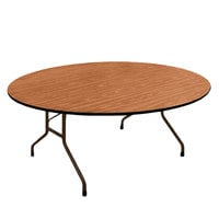Correll PC6072P06 60 inch x 72 inch Oval Medium Oak Solid High Pressure Heavy Duty Folding Table with Plywood Core